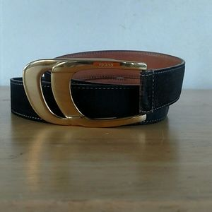 Vintage Gucci Brown Suede Belt-Gold-Tone Buckle